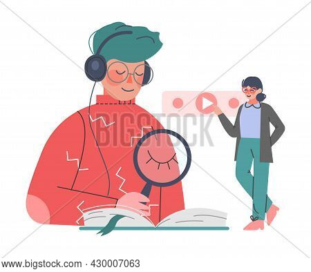 Podcast Or Spoken Episodic Serie Listening With Man And Woman Character With Headphones Pressing Pla