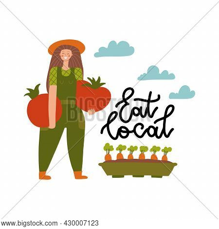 Local Organic Production Cartoon Vector Illustration. Eat Local - Lettering Print. Woman Farmer In M