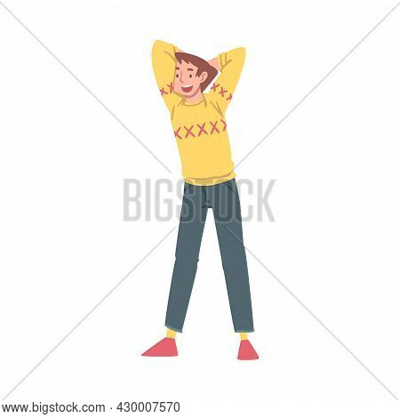 Positive Man Character Standing In Yellow Sweater With Smiling Face Feeling Euphoric And In High Spi
