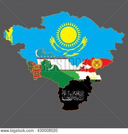 Map Of Central Asia With Afghanistan Captured By The Taliban. Instead Of The Flag Of Afghanistan, Th