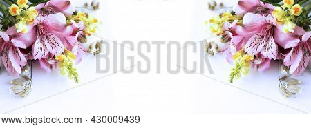 A Summer Bouquet Of Lilac Flowers Of Alstroemeria And Yellow Snapdragon. Background For A Postcard,