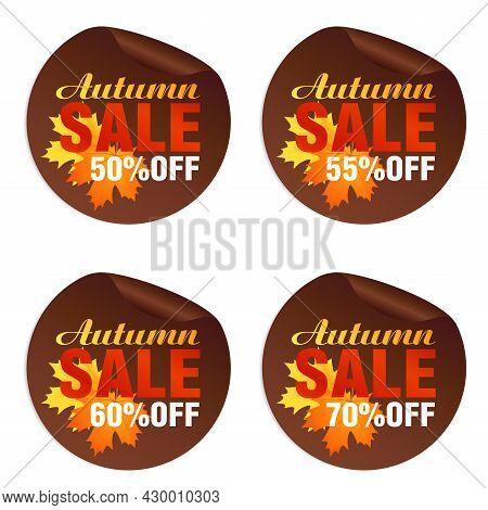 Autumn Sale Brown Stickers Set With Autumn Orange, Yellow Leaves. Autumn Sale 50%, 55%, 60%, 70% Off