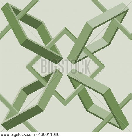Isometric Seamless Pattern Of Woven 3d Frames.vector Illustration In Flat Style