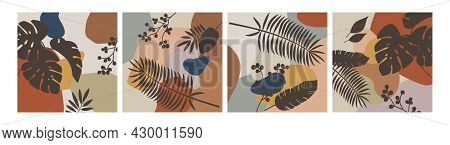 Set Of Botanical Abstract Art Backgrounds Vector. Square Wall Art. Foliage Line Art Drawing With Abs