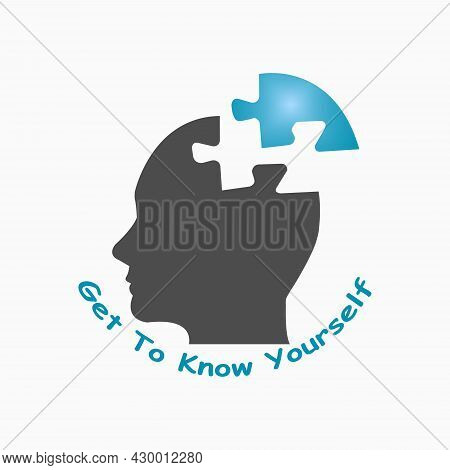 Silhouette Of Puzzle Head Of Man Showing Get To Know Yourself Concept Illustration Isolated On A Whi