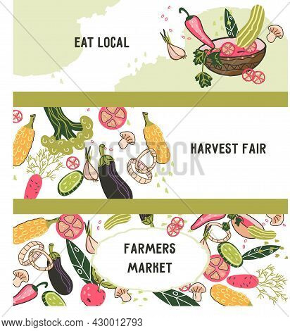 Set Banner Or Flyer Templates For Natural Products And Farm Organic Food Store, Flat Cartoon Vector