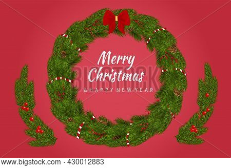 Christmas Circle Wreath. Wish You Merry Christmas. Applique From Spruce Branches. Decorative Ornamen