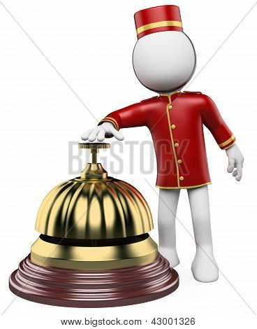 3d white bellhop ringing a hotel reception bell. 3d image. Isolated white background. poster