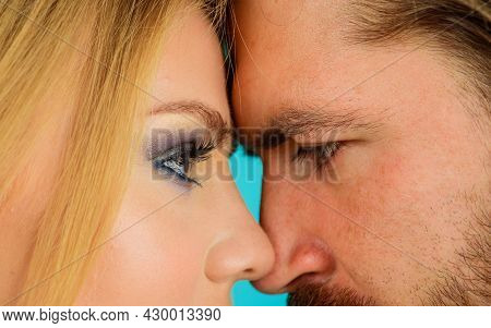 Closeup Portrait Of Beautiful Married Couple. Romantic And Love. Sensual Relationship. Love Story, V