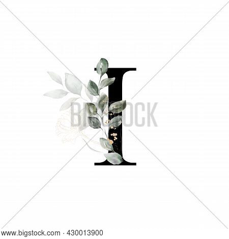 Capital Letter I Decorated With Golden Flower And Leaves. Letter Of The English Alphabet With Floral