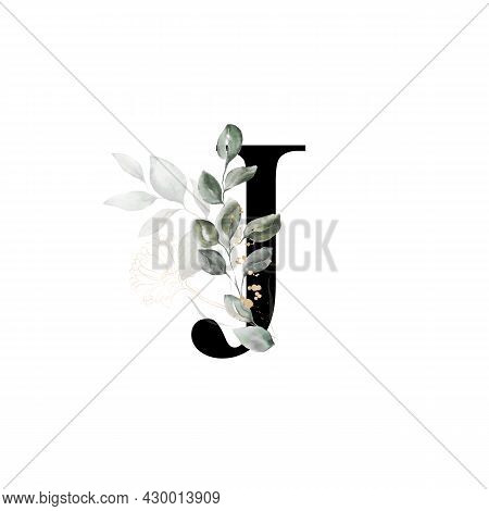 Capital Letter J Decorated With Golden Flower And Leaves. Letter Of The English Alphabet With Floral