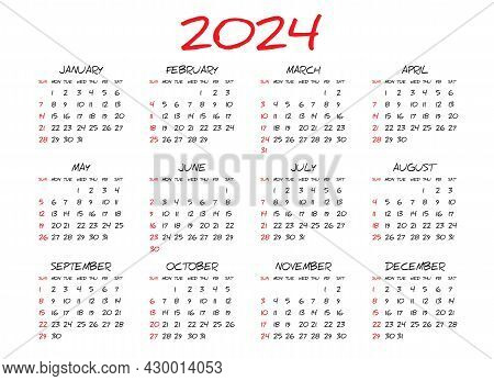 Monthly Calendar Template For 2024 Year, Simple Calendar Design, Planner, Week Starts On Sunday, Wal