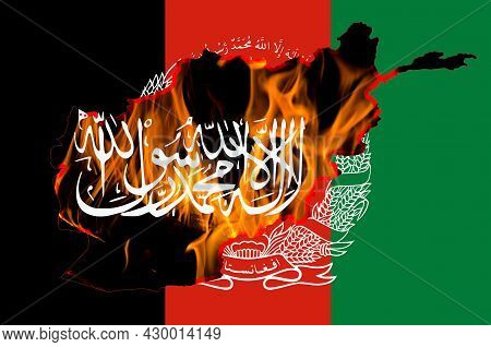 Afghanistan Flag, Taliban Insignia And Country Outline Map With Burning Fire Background. Afghanistan