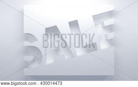 Three-dimensional White Background Sale Banner. 3d Illustration
