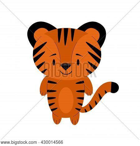 Illustration Of A Little Cute Striped Tiger Cub. Sticker