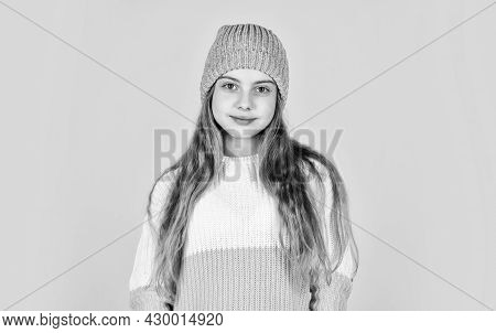 Little Girl In Knitwear. Kid Beauty And Fashion. Get Warm In Winter Season. Cold Weather Forecast. H