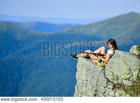 Observing Point. Woman Military Outfit Hold Weapon Highlands Background. Brave Girl Dangerous Situat