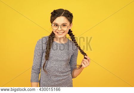 Intellectual. Cute Schoolgirl. Clever Little Child. Happy Childhood. I Love Studying. Smart Baby. Ro