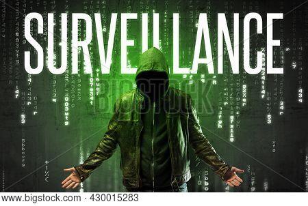 Faceless hacker with inscription concept