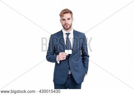 Businessman In Businesslike Suit Showing Empty Credit Or Debit Business Card, Copy Space, Business.