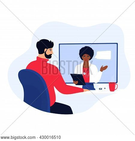 Doctor Consultation Online. Chat With On-call Nurse. African American Woman Medical Worker Consults