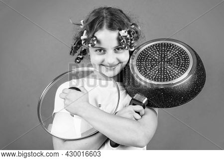 Little Kid Hold Pan Cooking Meal. Home Utensils. Kitchen Accessory. Healthy Food. Perfect For Pancak