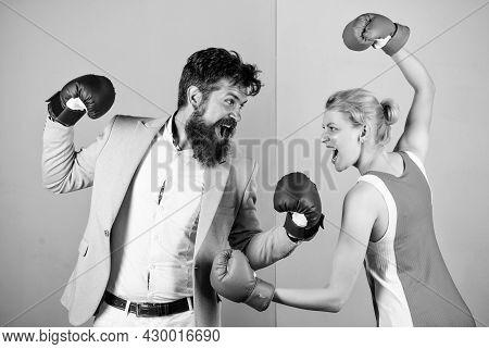 Conflict Concept. Family Quarrel. Boxers Fighting In Gloves. Domination Concept. Gender Battle. Gend