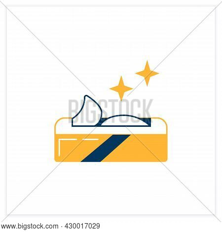 Wet Wipes Flat Icon. Disinfectant And Cleaning Cloth Package Linear Pictogram. Concept Of Hygiene, C