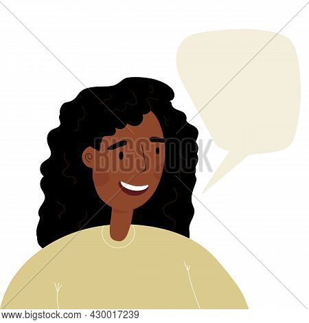 Young Woman, Teenager Monologuing With Smile. Happy African Girl Speaking.. Flat Style Character Wit