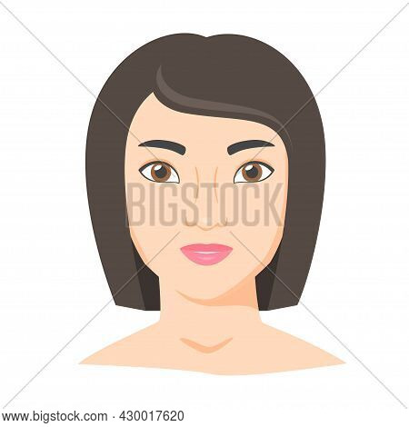 Young Woman Face. Female Portrait Of Brunette In Flat Style. Natural Beauty. Front View. Vector