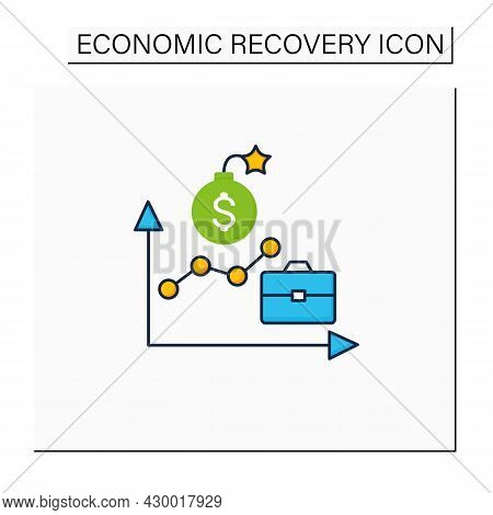 Economic Boom Color Icon. Upswing, Upturn, And Growth Period. Profitable Economy Period.business Con