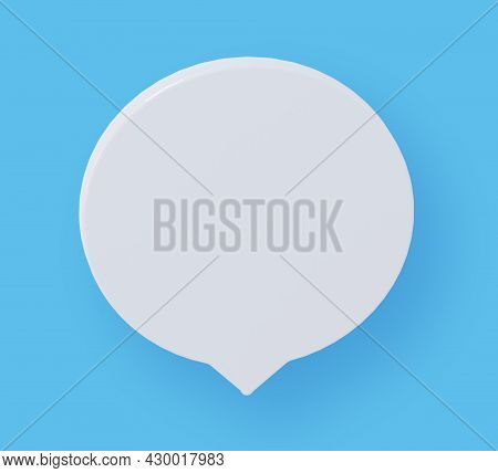 Round Speech Bubble On Blue Background. 3d Rendering.