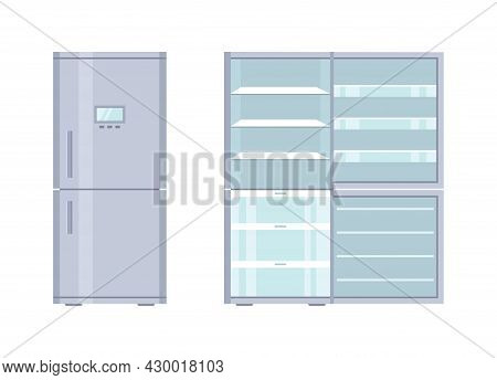 Fridge. Open And Closed Refrigerator With Freezer. Empty Fridge With Door And Shelf For Kitchen. Ins