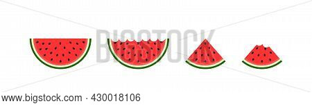 Red Watermelon. Half, Quarter And Slice Of Watermelon. Cartoon Icon Of Water Melon. Cut Of Piece Of