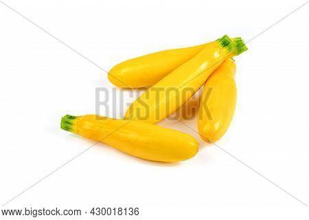 Summer Squash Or Yellow Squash On White Background