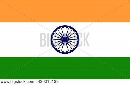 India Flag. Indian National Icon. Illustration Of Chakra. Blue Wheel Of India. Official Emblem Isola