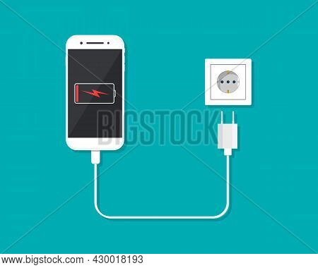 Charger With Phone For Charge Battery Of Smartphone. Low Level Of Charge In Cellphone Screen. Cable