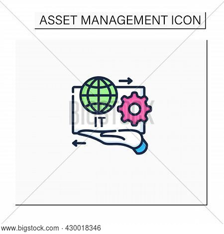 It Asset Management Color Icon.decision Making For It Environment.financial, Contractual Functions.b