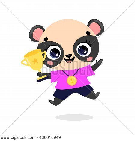 Cute Cartoon Flat Doodle Animals Sport Winners With Gold Medal And Cup. Panda Bear Sport Winner