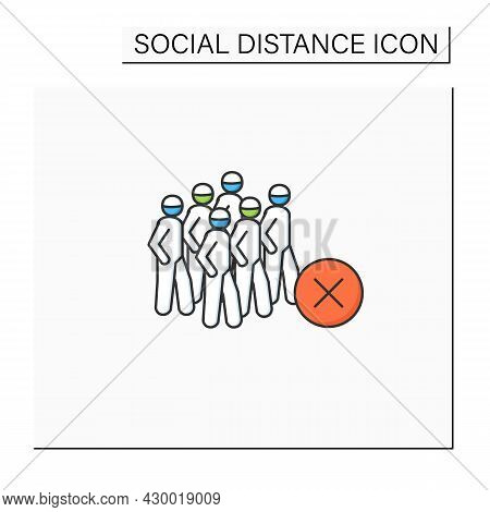 Avoid Crowds Color Icon. People Gathering With Negative Linear Pictogram. Concept Of Covid Regulatio
