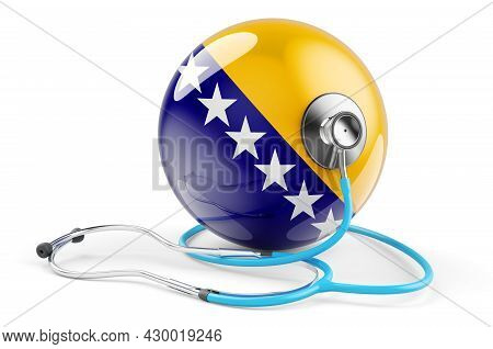 Bosnian Flag With Stethoscope. Health Care In Bosnia And Herzegovina Concept, 3d Rendering Isolated