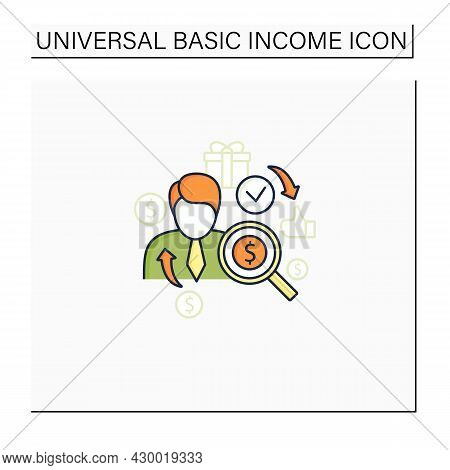 Individual Payment Color Icon. Portion Of Total Payout Amount. Personal Deposit.universal Basic Inco
