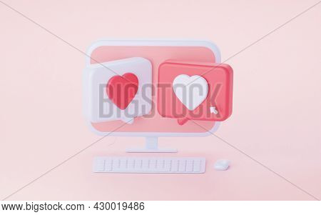 A Computer With Two Speech Bubble Hearts. Correspondence In Social Networks. 3d Rendering