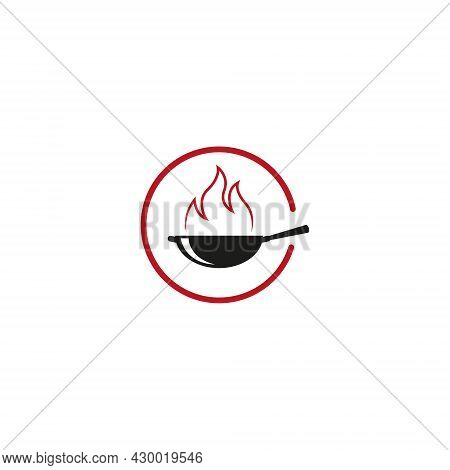 Frying Pan Vector Illustration. Hot Food Or Spicy Food Icon. Logo For Restaurants, Cafes And Other P