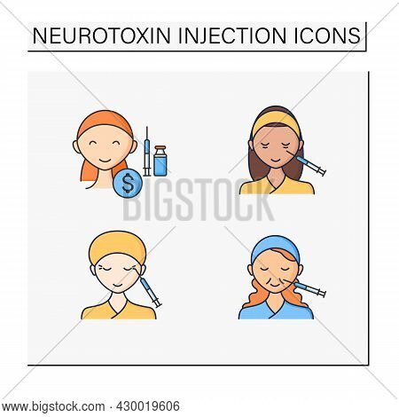 Cosmetic Injection Color Icons Set.beauty Correction. Eyes, Eyebrows Injection. Rejuvenation. Perfec