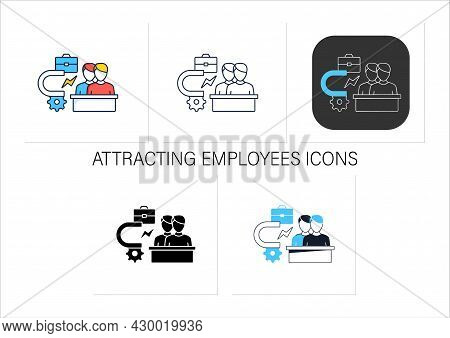 Attracting Employees Icons Set. Inviting New Workers Into Company. Fresh View. Attract Best, Talente
