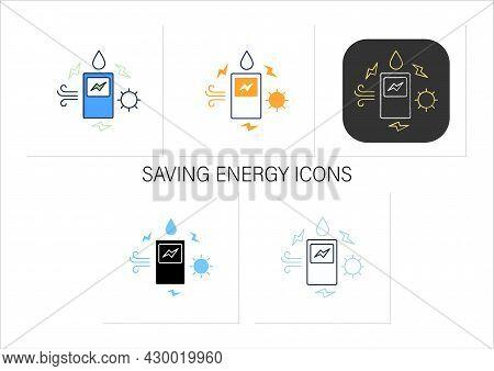 Saving Energy Icons Set.energy Storage From Renewable Sources.future.modern Technologies.digital Tra