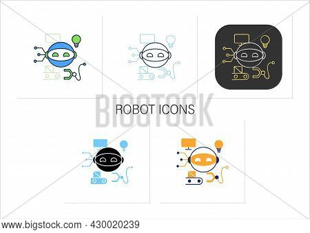 Robot Icons Set.robotizing. Modern Technologies. Future. Available Services.digital Transformation C