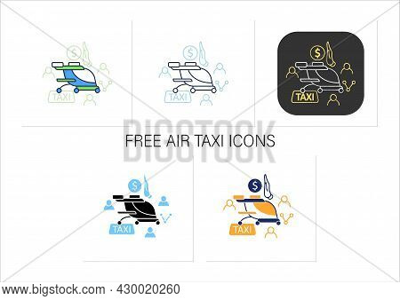 Free Air Taxi Icons. Modern Technologies. Future. Available Services.digital Transformation Concept.