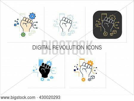 Digital Revolution Icons Set. Fist Up. Support Transition From Analog Technologies. Digital Transfor